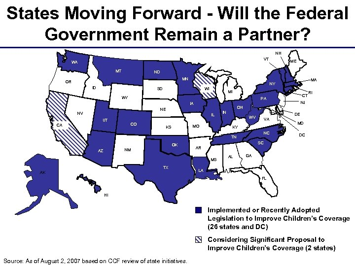 States Moving Forward - Will the Federal Government Remain a Partner? NH VT WA