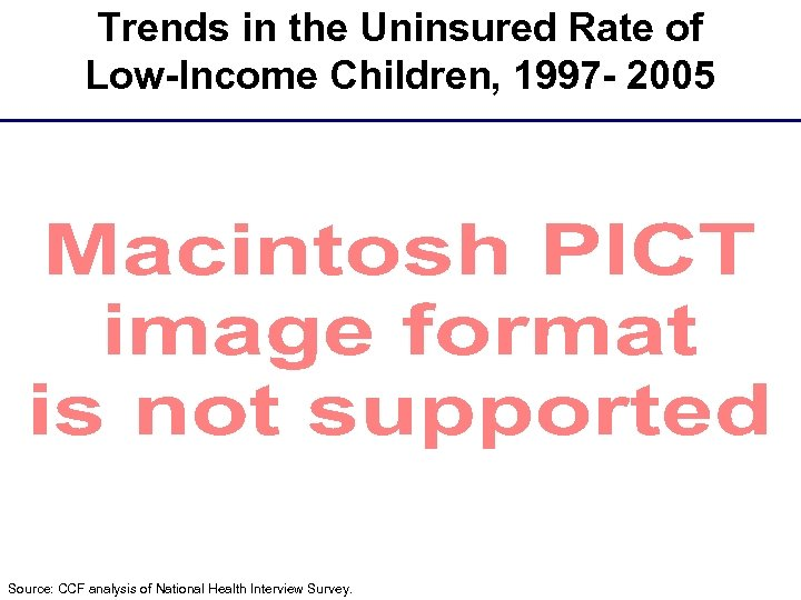 Trends in the Uninsured Rate of Low-Income Children, 1997 - 2005 Source: CCF analysis