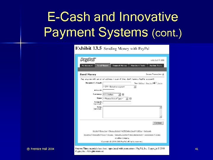 E-Cash and Innovative Payment Systems (cont. ) © Prentice Hall 2004 41