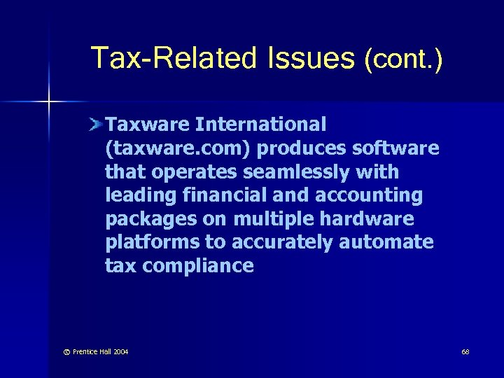 Tax-Related Issues (cont. ) Taxware International (taxware. com) produces software that operates seamlessly with