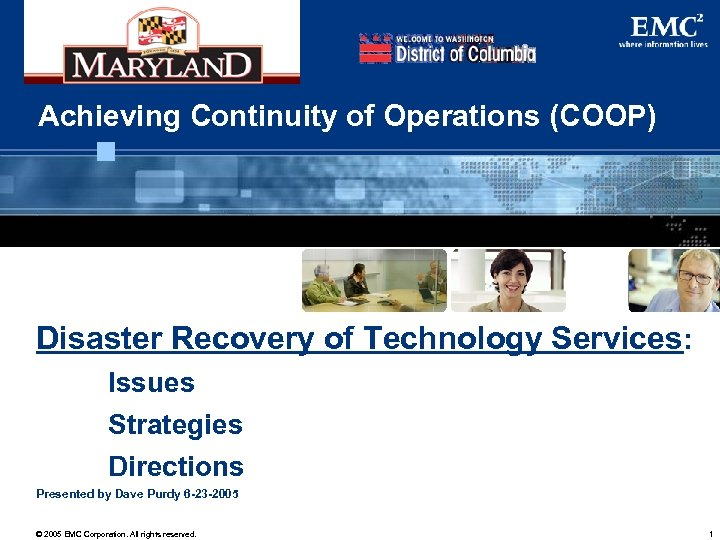 Achieving Continuity of Operations (COOP) Disaster Recovery of Technology Services: Issues Strategies Directions Presented