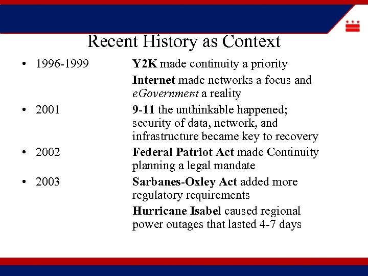 Recent History as Context • 1996 -1999 • 2001 • 2002 • 2003 Y