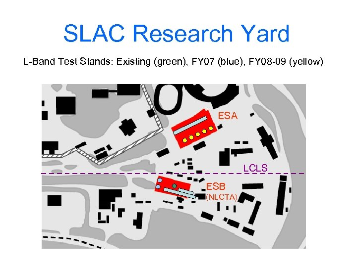 SLAC Research Yard L-Band Test Stands: Existing (green), FY 07 (blue), FY 08 -09