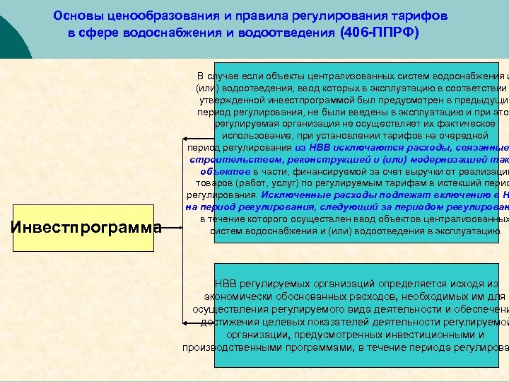 Основы ценообразования и правила регулирования тарифов в сфере водоснабжения и водоотведения (406 -ППРФ) Инвестпрограмма