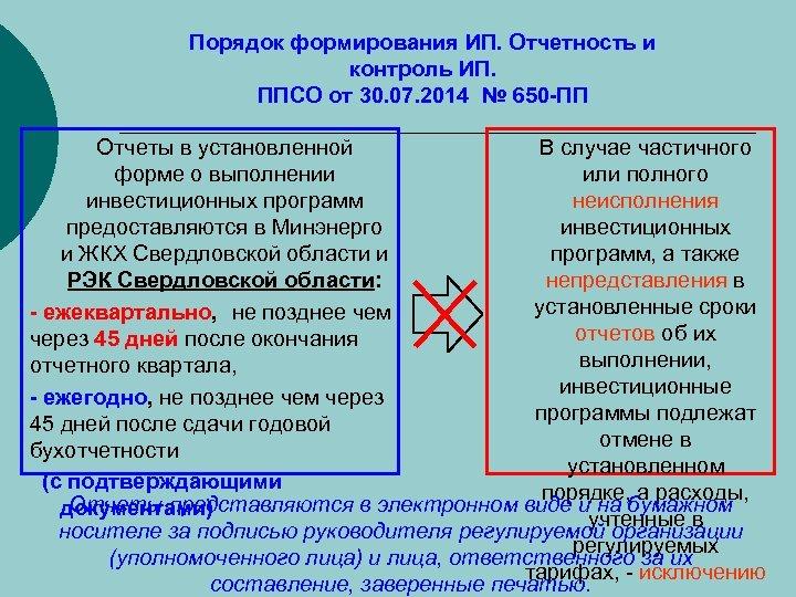Порядок формирования ИП. Отчетность и контроль ИП. ППСО от 30. 07. 2014 № 650