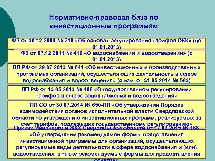 Нормативно-правовая база по инвестиционным программам ФЗ от 30. 12. 2004 № 210 «Об основах