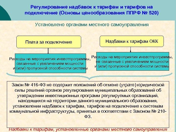 Регулирование надбавок к тарифам и тарифов на подключение (Основы ценообразования ППРФ № 520) Установлено