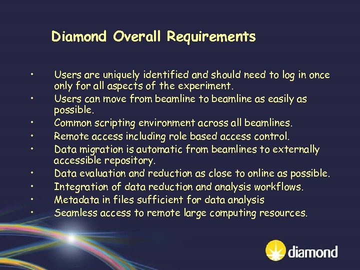 Diamond Overall Requirements • • • Users are uniquely identified and should need to
