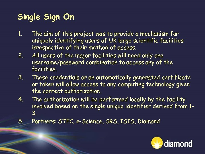 Single Sign On 1. 2. 3. 4. 5. The aim of this project was