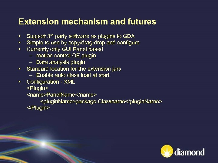 Extension mechanism and futures • • • Support 3 rd party software as plugins