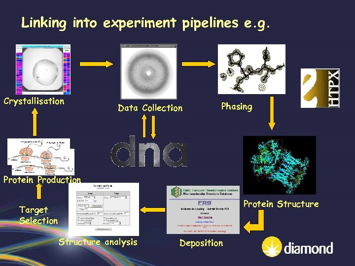 Linking into experiment pipelines e. g. Crystallisation Data Collection Phasing Protein Production Protein Structure