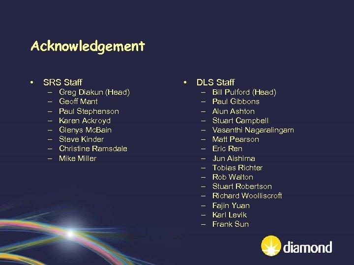 Acknowledgement • SRS Staff – – – – Greg Diakun (Head) Geoff Mant Paul