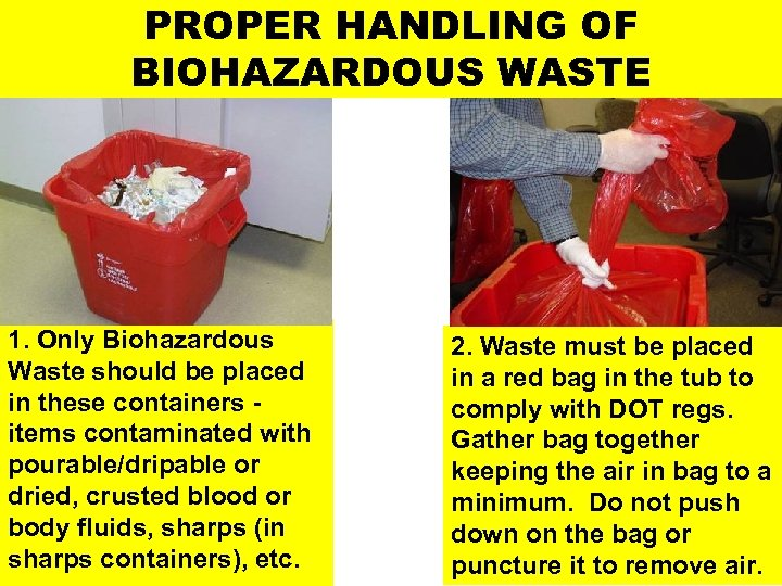 PROPER HANDLING OF BIOHAZARDOUS WASTE 1. Only Biohazardous Waste should be placed in these