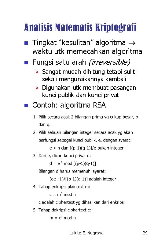 """Analisis Matematis Kriptografi n n Tingkat """"kesulitan"""" algoritma waktu utk memecahkan algoritma Fungsi satu"""