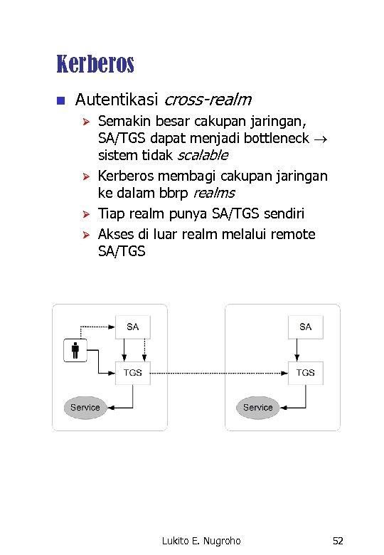 Kerberos n Autentikasi cross-realm Ø Ø Semakin besar cakupan jaringan, SA/TGS dapat menjadi bottleneck