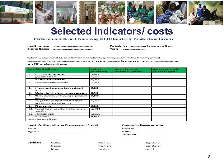 Selected Indicators/ costs 18