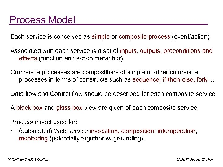 """Service Model Process Model """"How does it work? """" Each service is conceived as"""