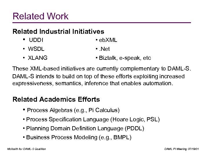 Related Work Related Industrial Initiatives • UDDI • eb. XML • WSDL • .