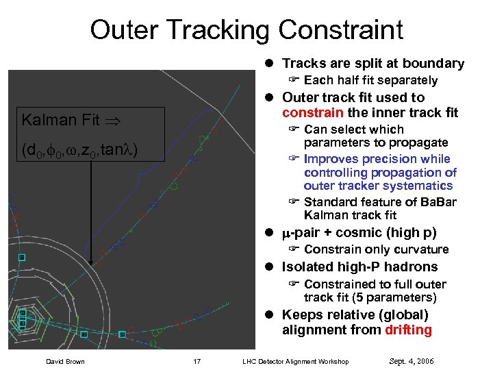 Outer Tracking Constraint l Tracks are split at boundary F Each half fit separately