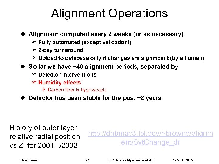 Alignment Operations l Alignment computed every 2 weeks (or as necessary) F Fully automated