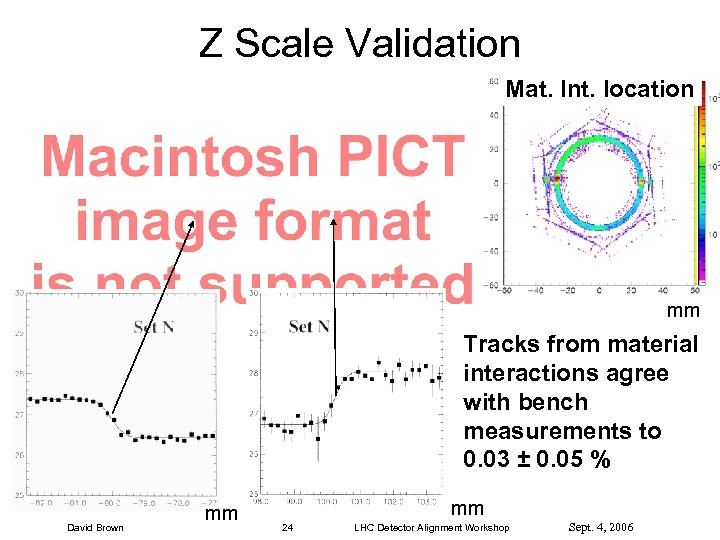 Z Scale Validation Mat. Int. location mm Tracks from material interactions agree with bench