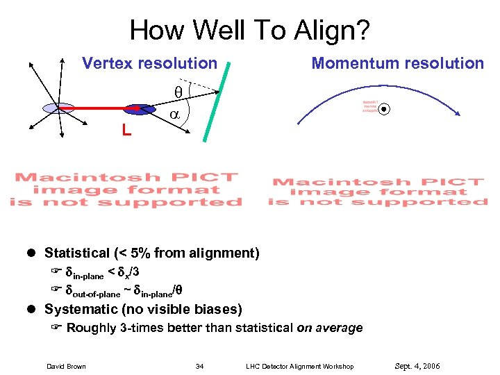 How Well To Align? Vertex resolution L Momentum resolution l Statistical (< 5% from