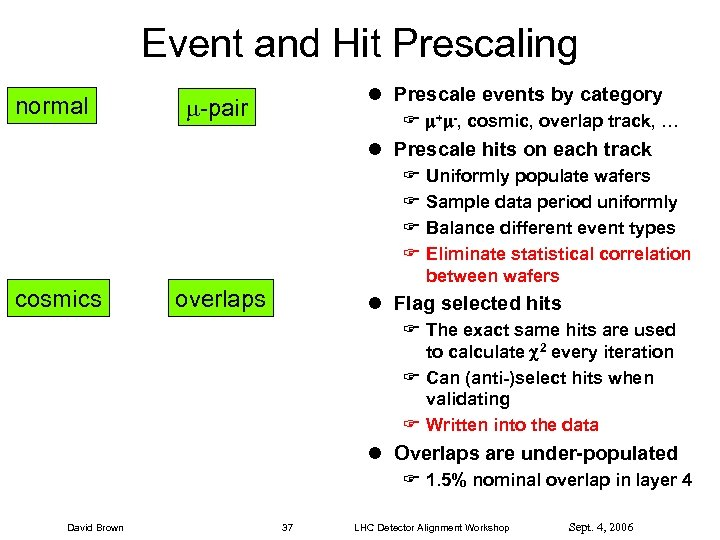 Event and Hit Prescaling normal l Prescale events by category -pair F + -,