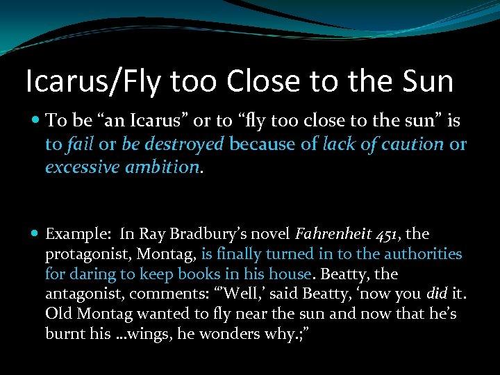 """Icarus/Fly too Close to the Sun To be """"an Icarus"""" or to """"fly too"""