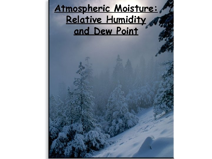 Atmospheric Moisture: Relative Humidity and Dew Point