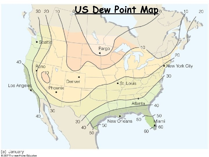 US Dew Point Map