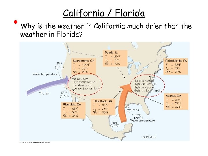 • California / Florida Why is the weather in California much drier than