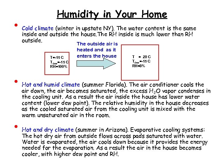 • Humidity in Your Home Cold climate (winter in upstate NY). The water