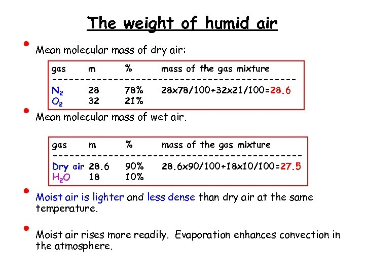• • The weight of humid air Mean molecular mass of dry air: