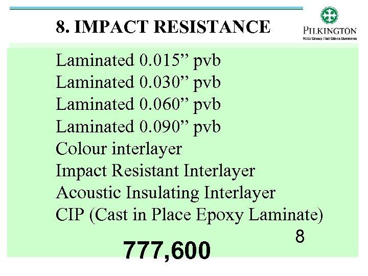 """8. IMPACT RESISTANCE Laminated 0. 015"""" pvb Laminated 0. 030"""" pvb Laminated 0. 060"""""""