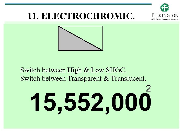 11. ELECTROCHROMIC: Switch between High & Low SHGC. Switch between Transparent & Translucent. 2