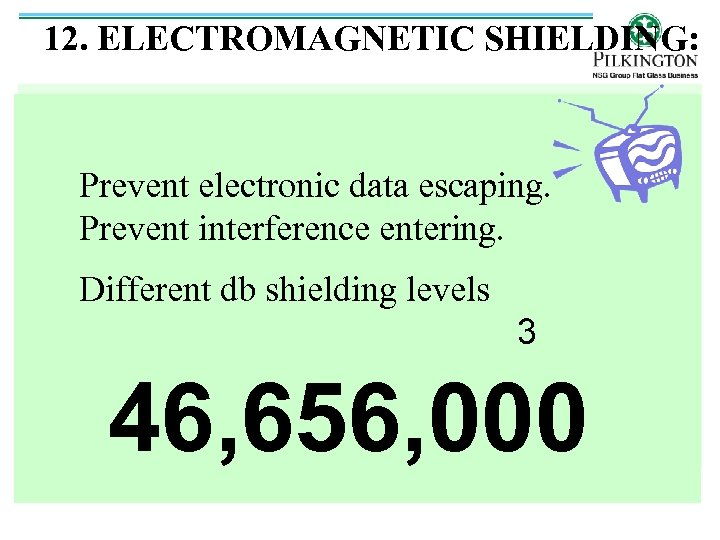 12. ELECTROMAGNETIC SHIELDING: Prevent electronic data escaping. Prevent interference entering. Different db shielding levels