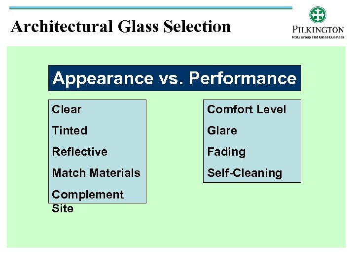 Architectural Glass Selection Appearance vs. Performance Clear Comfort Level Tinted Glare Reflective Fading Match