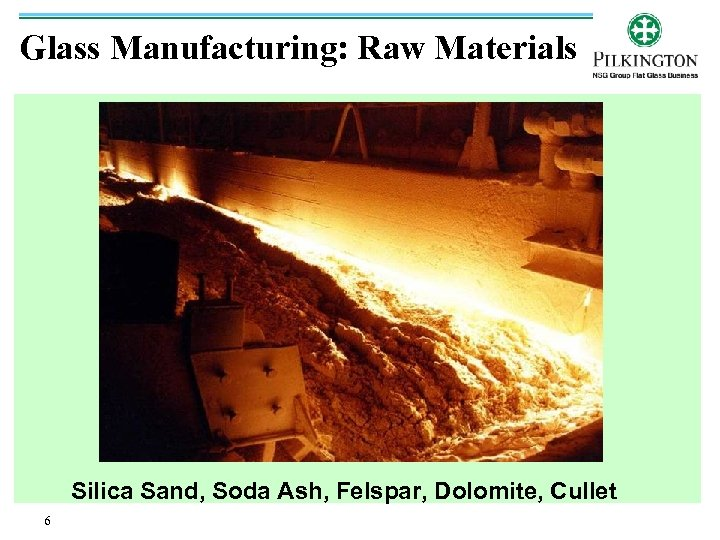 Glass Manufacturing: Raw Materials Silica Sand, Soda Ash, Felspar, Dolomite, Cullet 6