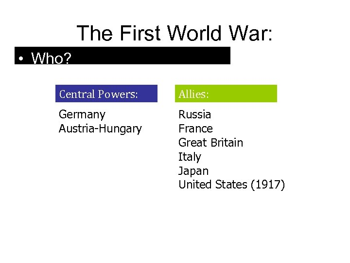 The First World War: • Who? Central Powers: Allies: Germany Austria-Hungary Russia France Great