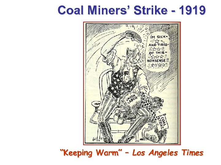 "Coal Miners' Strike - 1919 ""Keeping Warm"" – Los Angeles Times"