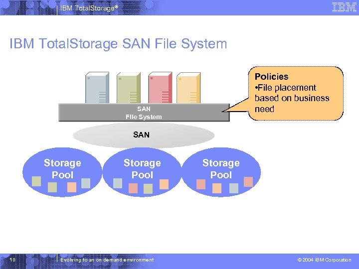 IBM Total. Storage® IBM Total. Storage SAN File System Policies • File placement based