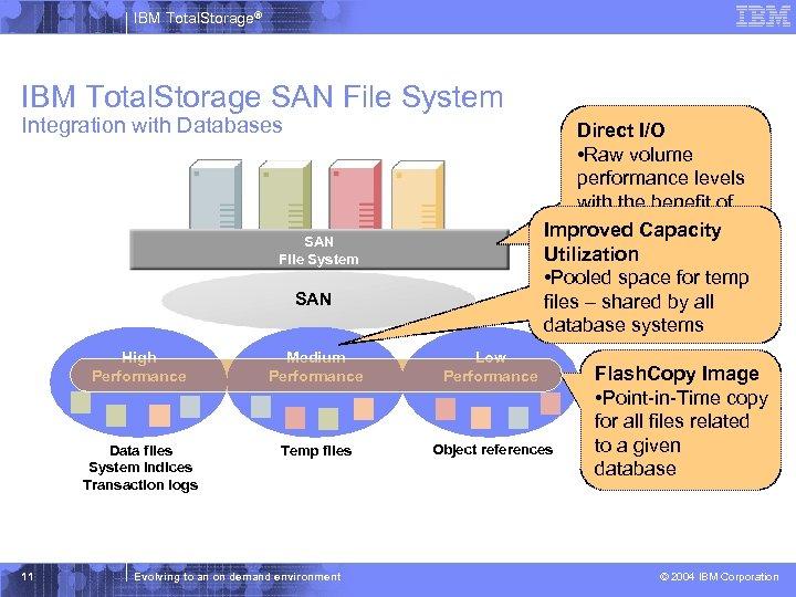 IBM Total. Storage® IBM Total. Storage SAN File System Integration with Databases Direct I/O