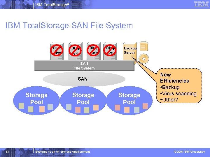 IBM Total. Storage® IBM Total. Storage SAN File System Bkup agent Backup Server SAN