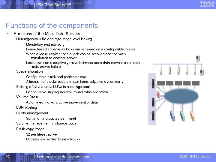 IBM Total. Storage® Functions of the components § Functions of the Meta-Data Servers Heterogeneous