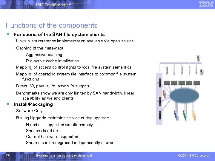 IBM Total. Storage® Functions of the components § Functions of the SAN file system