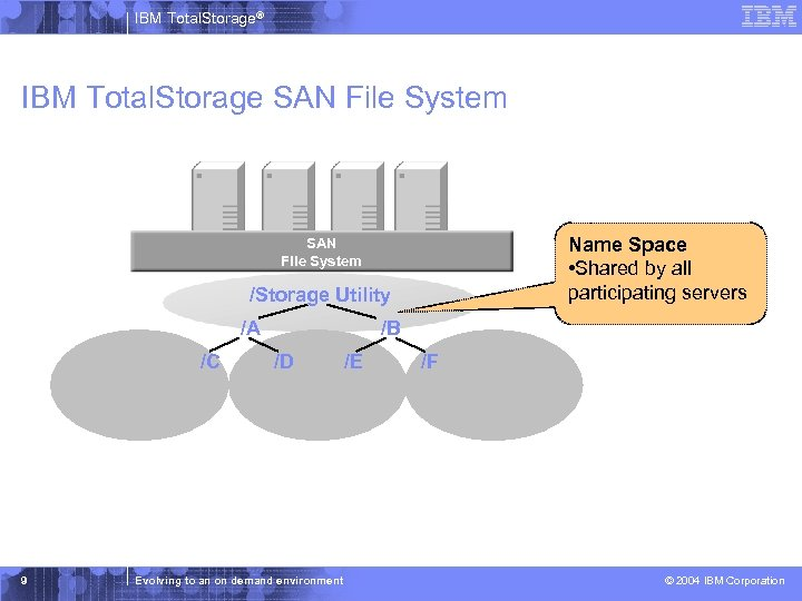IBM Total. Storage® IBM Total. Storage SAN File System Name Space • Shared by