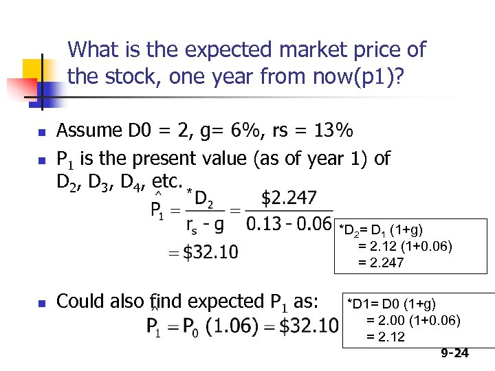 What is the expected market price of the stock, one year from now(p 1)?