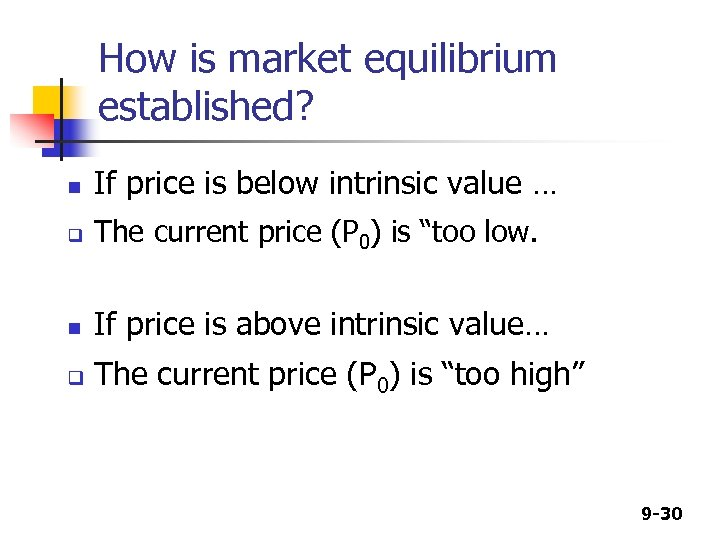 How is market equilibrium established? n If price is below intrinsic value … q