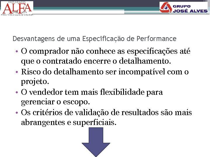 Desvantagens de uma Especificação de Performance • O comprador não conhece as especificações até
