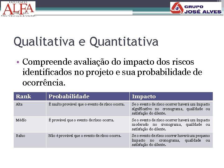 Qualitativa e Quantitativa • Compreende avaliação do impacto dos riscos identificados no projeto e